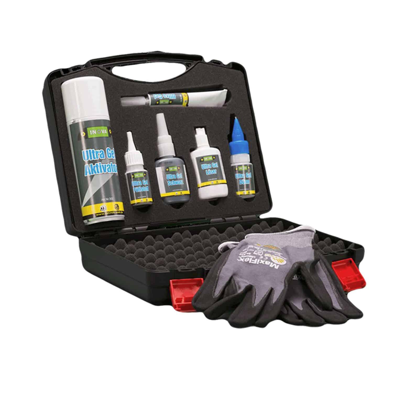 Ultra Gel Koffer Set enthält Spezialklebstoffe, Sekundenkleber, zur Verklebung von Kunststoffen, Holz, Kork, Pappe, Metall, Keramik usw. mit- und untereinander.