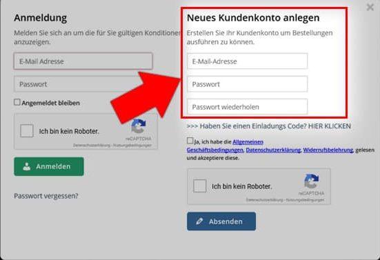 Webshop Registrierung KSA Schritt 2.1