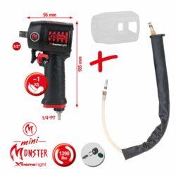 """1/2"""" miniMONSTER Xtremelight Hochleistungs-Druckluft-Schlagschrauber 1.390 Nm mit Schutzhülle und Geräusch-Reduzier-Schlauch"""