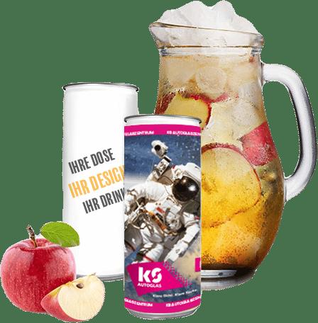 Apfelspritz Dosen mit eigener Werbung
